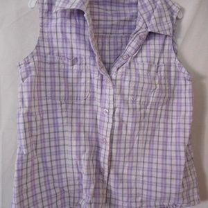 Size 10 Purple/Green plaid sleeveless button front